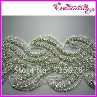 "New Arrive Bridal Aurora Borealis Glass Silver Crystal Rhinestone Braided Beaded Trim 2.5"""