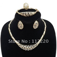 Free shipping costume jewelry set 18K gold plated  jewellery for winter season Gold Pteris