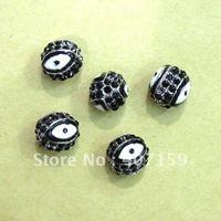 Free Ship 8mm Black Shamballa Enamel Crystal Rhinestone Pave Disco Evil Eye Diy Round Ball Beads fit Charm Bracelet Wholesale