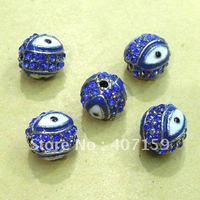 Free Ship 8mm Blue Shamballa Enamel Crystal Rhinestone Pave Disco Evil Eye Diy Round Ball Beads fit Charm Bracelet Wholesale