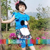 2013 Summer Girl cotton Puff sleeve flower design cheap clothes baby children t shirts girls fashion tops K0149