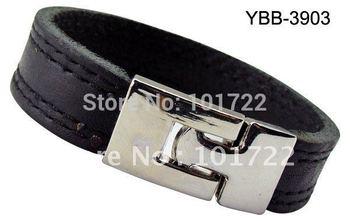 Wholesale Black Leather Bangle Cuff Bracelet