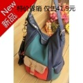 Colorant match women's handbag tassel decoration bucket bag candy color blue orange one shoulder women bag