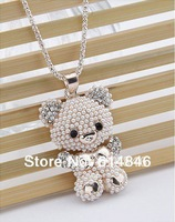 Free Shipping Hot Sale Korean fashion Jewelry Bow Pearl Rhinestones Bear Pendants Statement Long Sweater Necklaces For Women