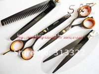"5.5"" 2matching Coating black titanium Hair scissors with a free bag. Barber Shear440C JP steel lightweight Convex cutting blade"