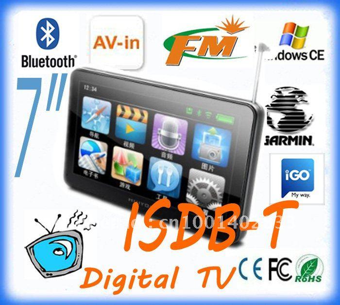 wholesale Digital TV ISDB-T brazil 7 inch GPS, bluetooth GPS, Bluetooth,AV-IN, DDR 128 M, 4GB , latest map,navigation system(China (Mainland))