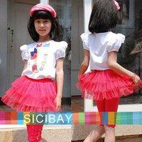 Cheap Promotion Girls Beautiful Suit Leg Printing Design T-Shirt+Solid Tutu Dress  K0154