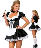 1Piece Free Shipping,Halloween Maid Cosplay Uniform,Dress+Apron,Black and White,Free Size/XXXL,0.28Kg/Piece,FWO10043