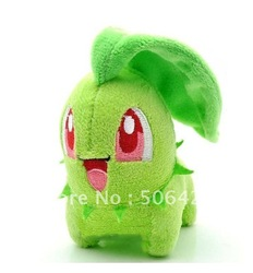 "Free shipping 10pcs/lot Pokemon toy Pikachu Soft Plush Doll stuffed animal Japanese anime 10CM 4"" Chikorita 168(China (Mainland))"
