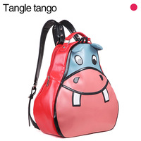 2012 autumn casual street women's handbag fashion cartoon hippo backpack preppy style school bag