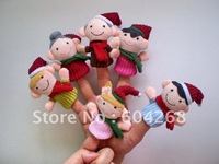 50pcs/lot Plush Family finger puppets+wool Wear toys+finger doll+Christmas gifts+Baby doll+Free shipping