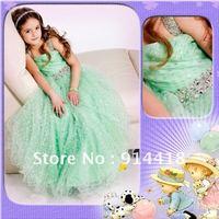 Fashion Beading Straps Green Organza Christmas Dress Fabric