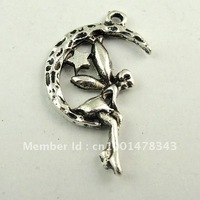 60pcs Antique Silver Tone Alloy Angel Moon Charm Pendant 22*15*2mm 30224-043D