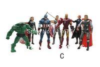 Marvel The Avengers Heros Hulk+Captain America+Iron Man+Thor+Black Widow+Hawkeye+Nick Fury 7pc Action Figure Free shipping