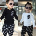 Children clothing Discount  winter children's clothing unisex skull patchwork cotton long-sleeve T-shirt  basic shirt 5pcs/lot