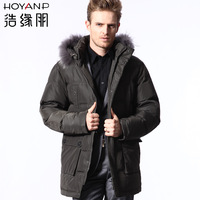 Hoyanp male medium-long fur collar down coat male Men men's winter