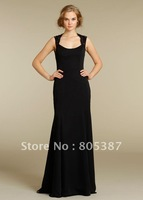 bd000107 2012 cheap Bridesmaid gown Black Chiffon Scoop Neckline Sleeveless Floor-length Hemline for free shipping