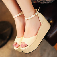 Туфли на высоком каблуке SHPPING 2013 spring all-match sweet bow goatswool round toe wedges single shoes women's high-heeled shoes