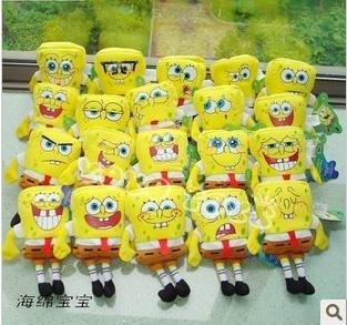 20pcs/set Cartoon figure sponge bob squarepants plush toy