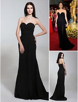 Balck Off The Shoulder A Line Chiffon Floor Length Evening Angelina Jolie Celebrity Dresses