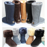 Free shipping ! women's winter warm snow boots cowhide outsole knee high boots for lady