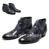 Men's boots european version of the fashion boots denim boots round toe genuine leather zipper personalized boots