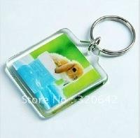 "Брелок 100pcs Blank Acrylic Rectangle Keychains Insert Photo Keyrings 2""x 1.25"", plastic photo frame keychain"