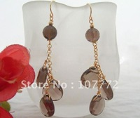 @@~~ Smoky Quartz Earring-925 Golden Hook   free+ shippment
