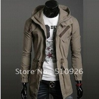 2012  Hotsale South Korea New Style Men's Army Designer Hooded Jacket Slim Fit Sexy Casual Wear Jacket Medium style