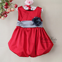 New Year Kids Dresses Red Flower Baby Girls Party Dress Wholesale Children Clothing  (6Pcs/Lot) H121008-88