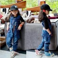 Korean version of the trend of children's clothing girls painting little lightning tooling Siamese jeans / retro long pants