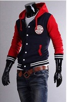 The fashion baseball Embroidery thick jacket hooded cardigan cotton baseball shirt men jacket Men 5875  free shipping