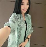 Fashion brief tibetan style enamel blue and white porcelain thin silk floss long cape scarf