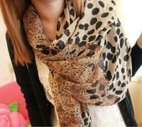 Autumn winter scarf chiffon leopard print dot silk scarf wraps Medium size