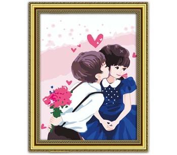 Diy digital oil painting 2030 20 - 30 oil painting 20 30 cartoon kiss me get married wholesale