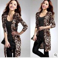 Free shipping 2012 New ladies leopard cardigan slim cotton coat Ladies autumn cardigan