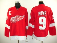 Free Shipping Wholesale Jerseys Detroit Red Wings #9 Gordie Howe Ice Hockey Jerseys  Mix order High quality