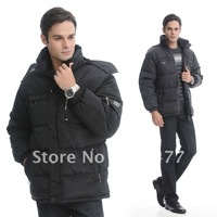 Free shipping!HOT SALE!2012winter mens casual stand collar hooded snow down coat wadded outerwear cotton-padded jacket plus size