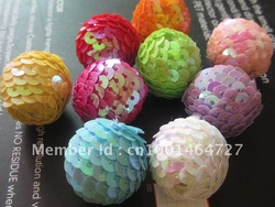 Cheapest AAA Quality 20MM 200pcs A lot Mixed Color Sequin/paillette Ball Beads for Christmas Jewelry Accessory!Free Shipping!(China (Mainland))