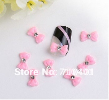 Xmas Free Shipping Wholesale/ Nails Supply, 100pcs 3D Plastic Newest Pink Bowtie DIY Acrylic Nails Design/Nails Art, Unique Gift