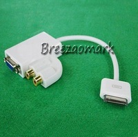 Audio Dock Connector to VGA Adapter Cable connection for iPad 2 iPhone 4 4S