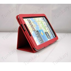 "Samsung Galaxy Tab 7.7"" P6800 P6810 Folding Folio Smart PU Leather with Stand Case Cover Flip Skin -Red #S325 Free Shipping(China (Mainland))"
