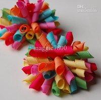 Wholesale - korker bows rainbow hair bows Girls' handmade grosgrain ribbon hairbows with clip hair clips A380