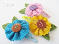 "2.5"" Baby felt hairclip hair clips Girl Hair Accessories Baby Felt Flowers hair bows handmade A390"