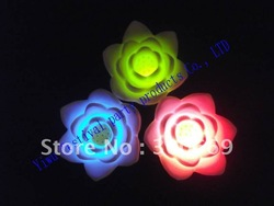 wholesales flashing led colorful float lotus for children pool toy Novelty Decoration Night Light(China (Mainland))