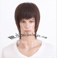 Free Shipping ! Balck BrownExquisite straight Healthy New Hair Style Man wig/wigs Percken Kanekalon Synthetic  Wigs