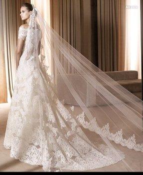Ivory White Wedding Veil Long Bridal Veils Wide Lace Edge Bridal