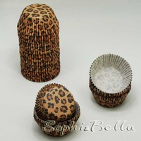 FREE SHIPPING 100 Pcs leopard cupcake decoration muffin cases B075 D