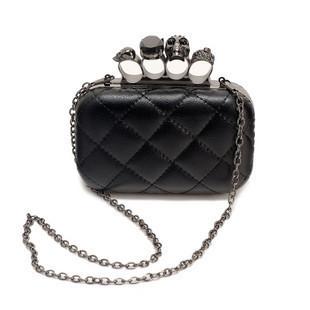2012 black leather Skull Clutch Knuckle Rings handbag .Imitation sheepskin bag , women's handbag.free shipping wholesale
