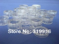 Big discount ,200pcs 3g transparent  small round bottle jars pot,clear plastic container for nail art storage,wholesales